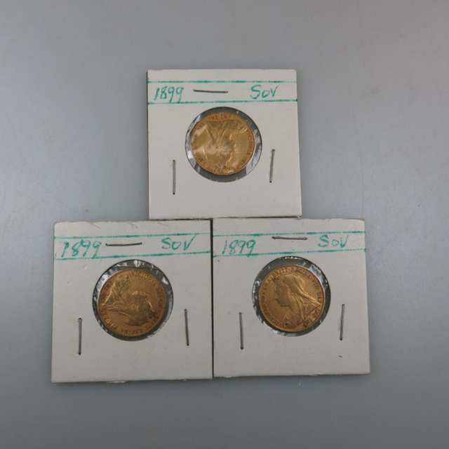 Three 1899 British Gold Sovereigns