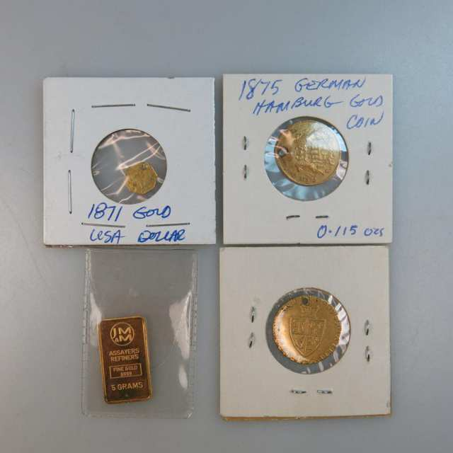 Three Drilled Gold Coins And A Five Gram Gold Ingot