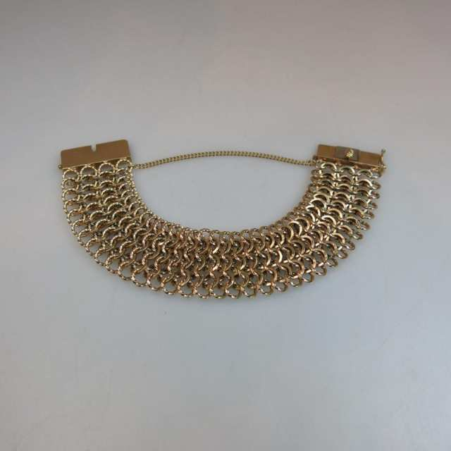 14k Yellow Gold Wide Mesh Bracelet