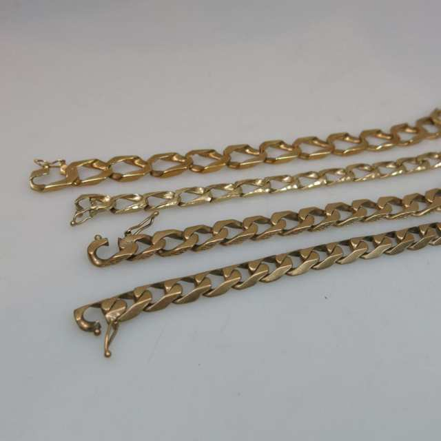 4 x 10k Yellow Gold Curb Link Bracelets