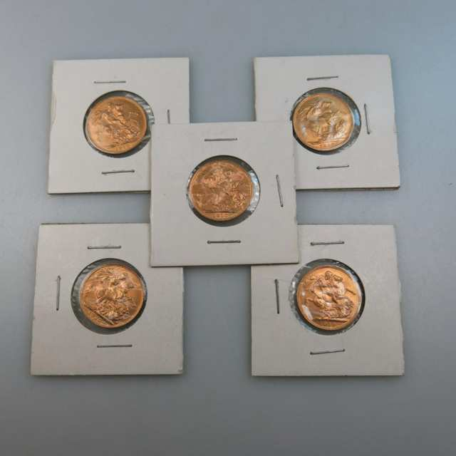 Five Australian 1910S Gold Sovereigns