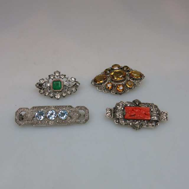 Four Various Silver Pins
