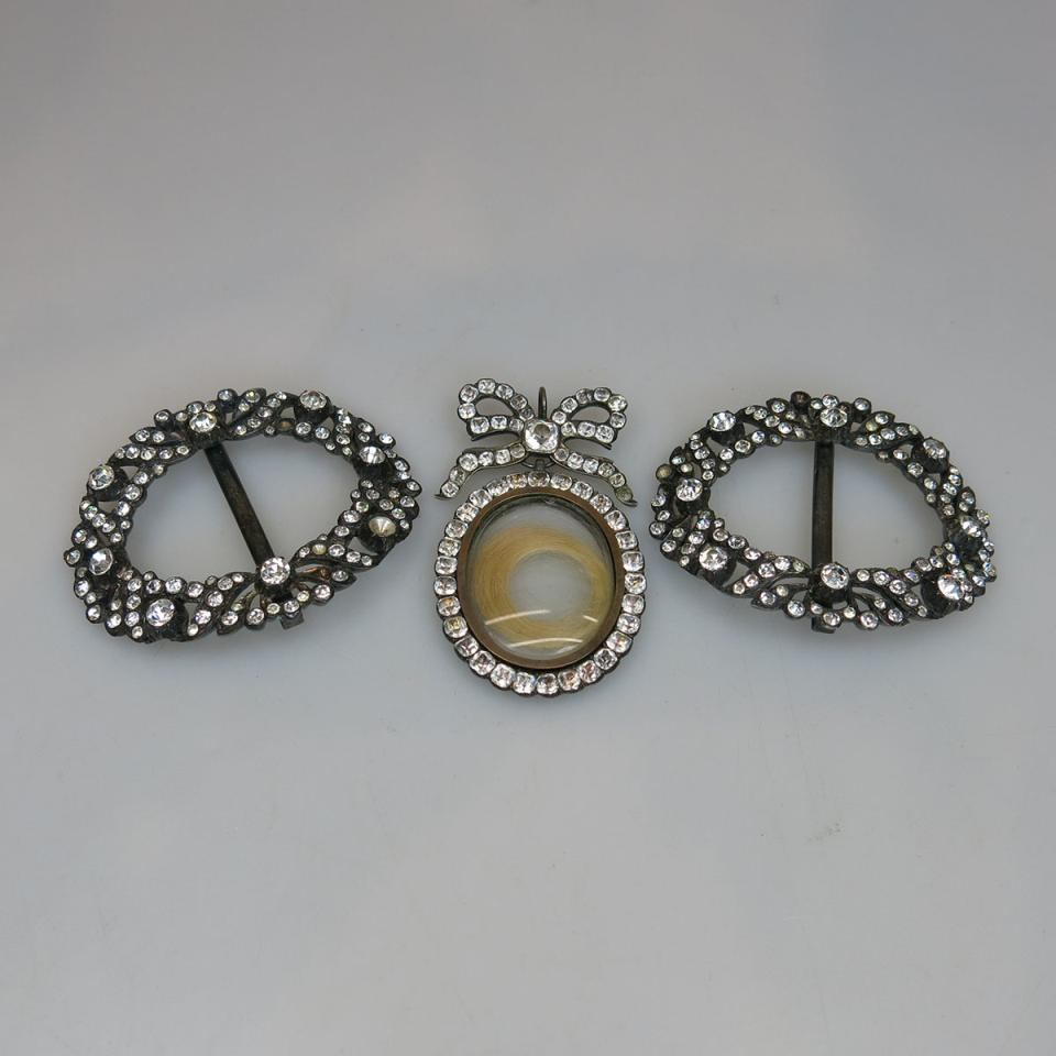 19th Century Silver Pendant And Pair Of Buckles