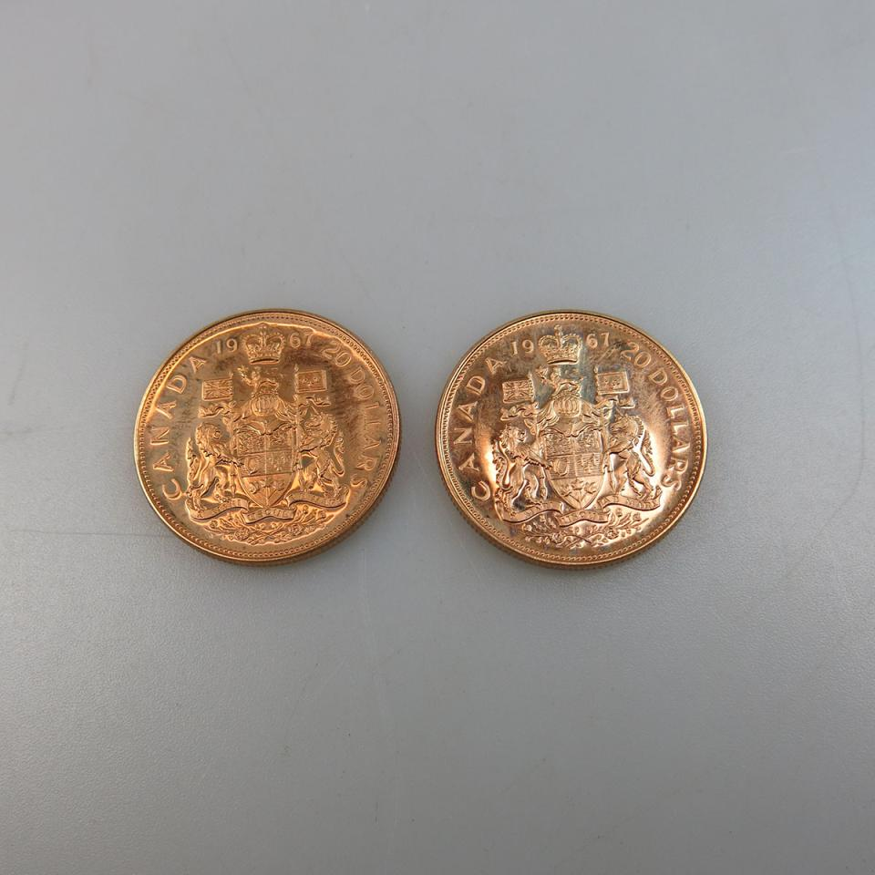 Two Canadian 1967 $20 Gold Coins