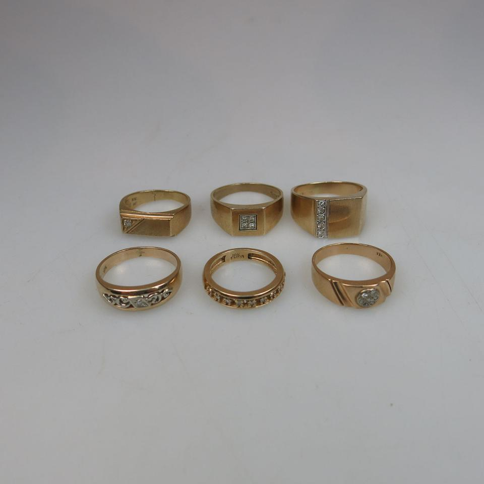 6 x 10k Yellow Gold Rings