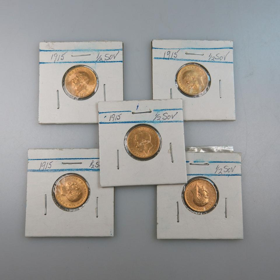 Five Australian 1915S Gold Half Sovereigns