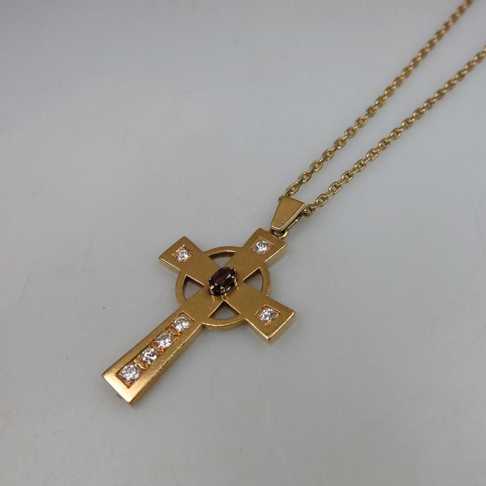 18k Yellow Gold Cross Pendant And Endless Chain