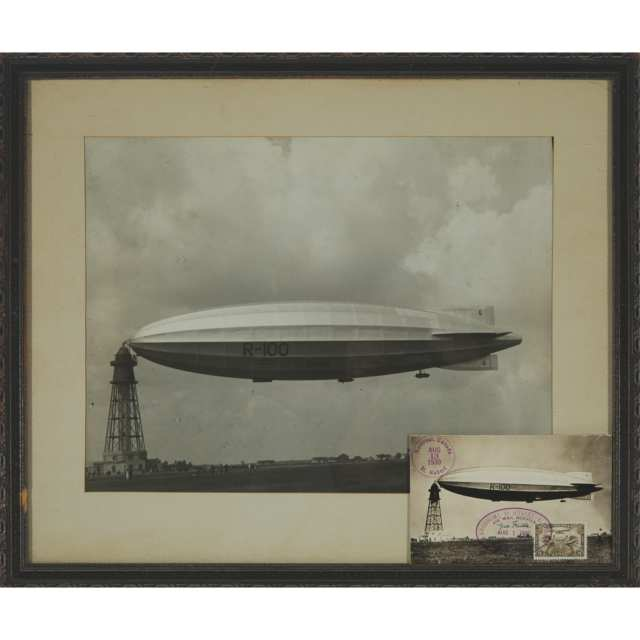 Aviation Interest: Emperor of Canada, His Majesty's Airship R100, Photograph and First Day of Issue Stamped Postcard, 1930