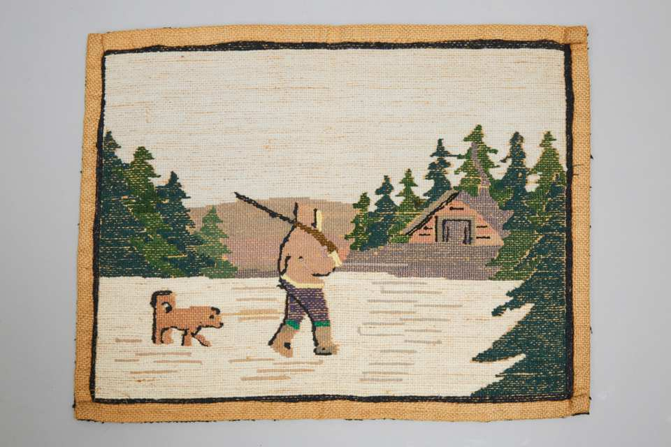 Grenfell Labrador Industries 'Hunter Heading Home' Hooked Mat, c.1930
