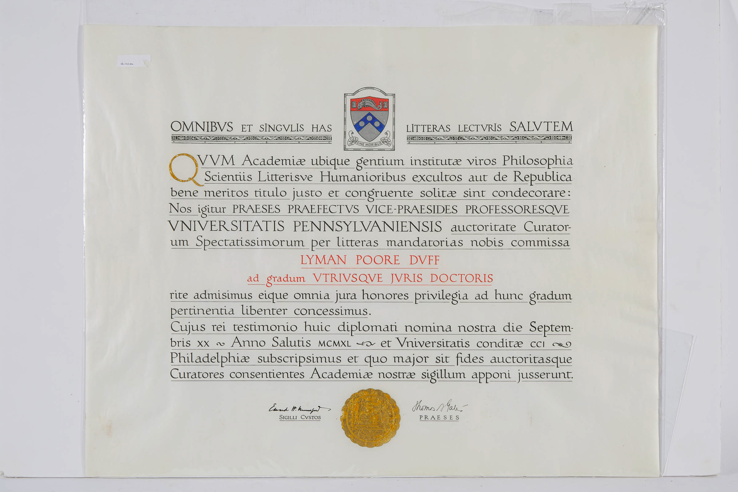 University of Pennsylvania Honorary Degree to Sir Lyman Poore Duff, PC, GCMG, (1865-1955) mid 20th century