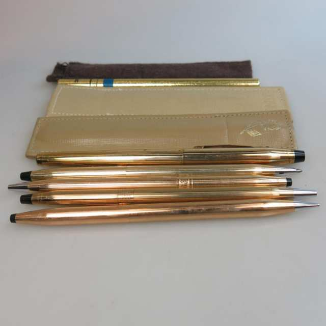 Four Cross Gold-Filled Ball Point Pens And A Mechanical Pencil