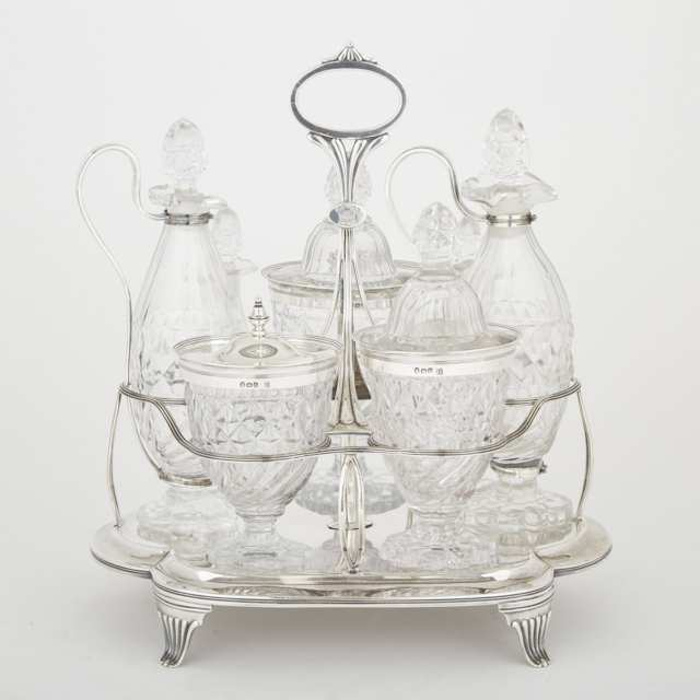 George III Silver and Cut Glass Seven-Bottle Cruet, John Emes, London, 1800