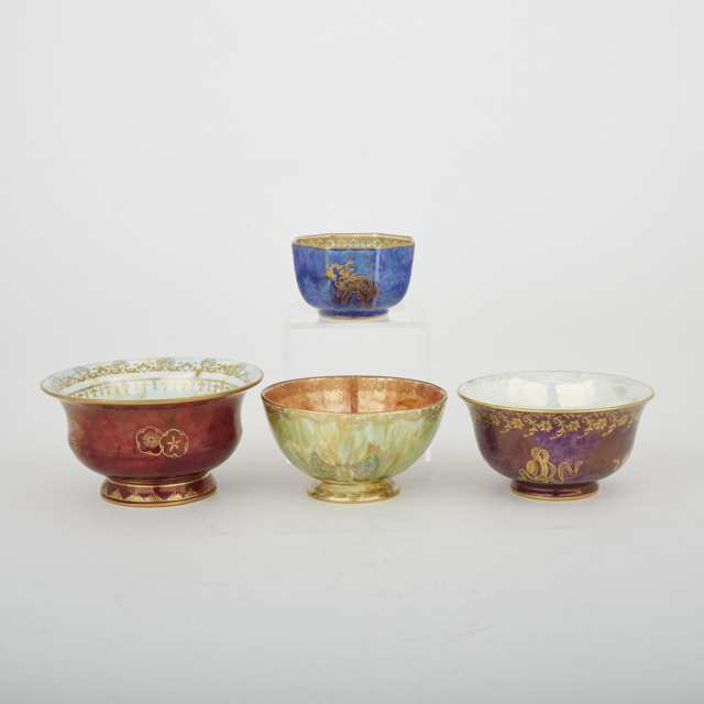 Four Wedgwood Dragon and Butterfly Lustre Small Bowls, 1920s