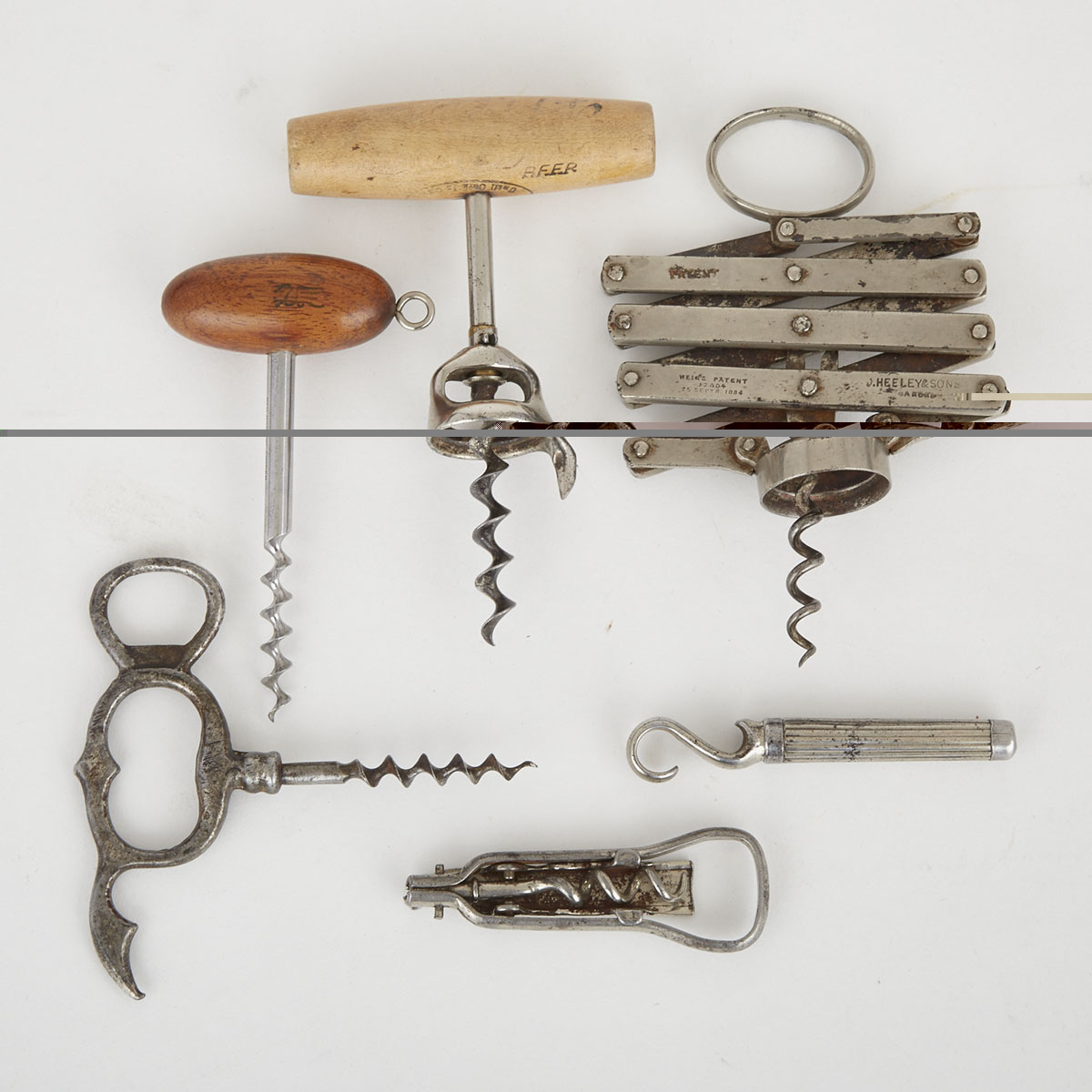 Group of Six Vintage Corkscrews, 19th/20th century