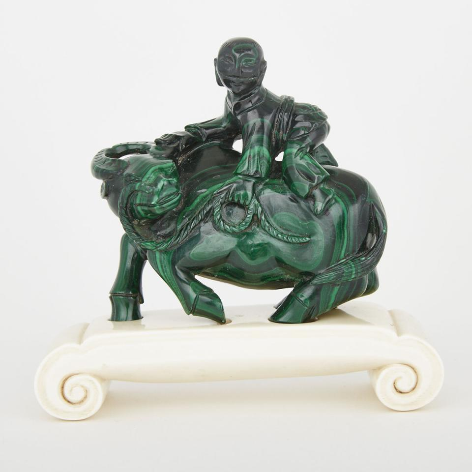 A Malachite Carving of a Water Buffalo and Boy, Early 20th Century