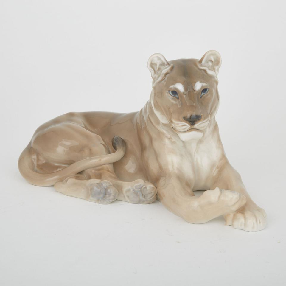Royal Copenhagen Model of a Recumbent Lioness, Lauritz Jensen, 20th century