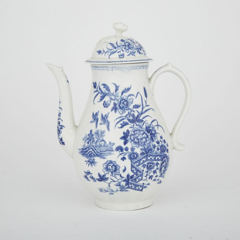 Worcester Blue Printed 'Fence' Pattern Coffee Pot, c.1775