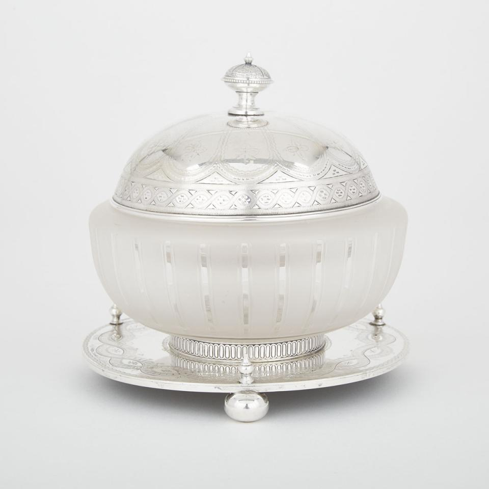 Silver Plated and Cut Glass Caviar Dish, probably Russian, late 19th century