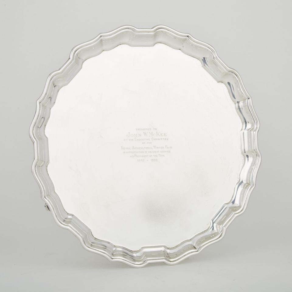 Canadian Silver Shaped Circular Salver, Henry Birks & Sons, Montreal, Que., 1950