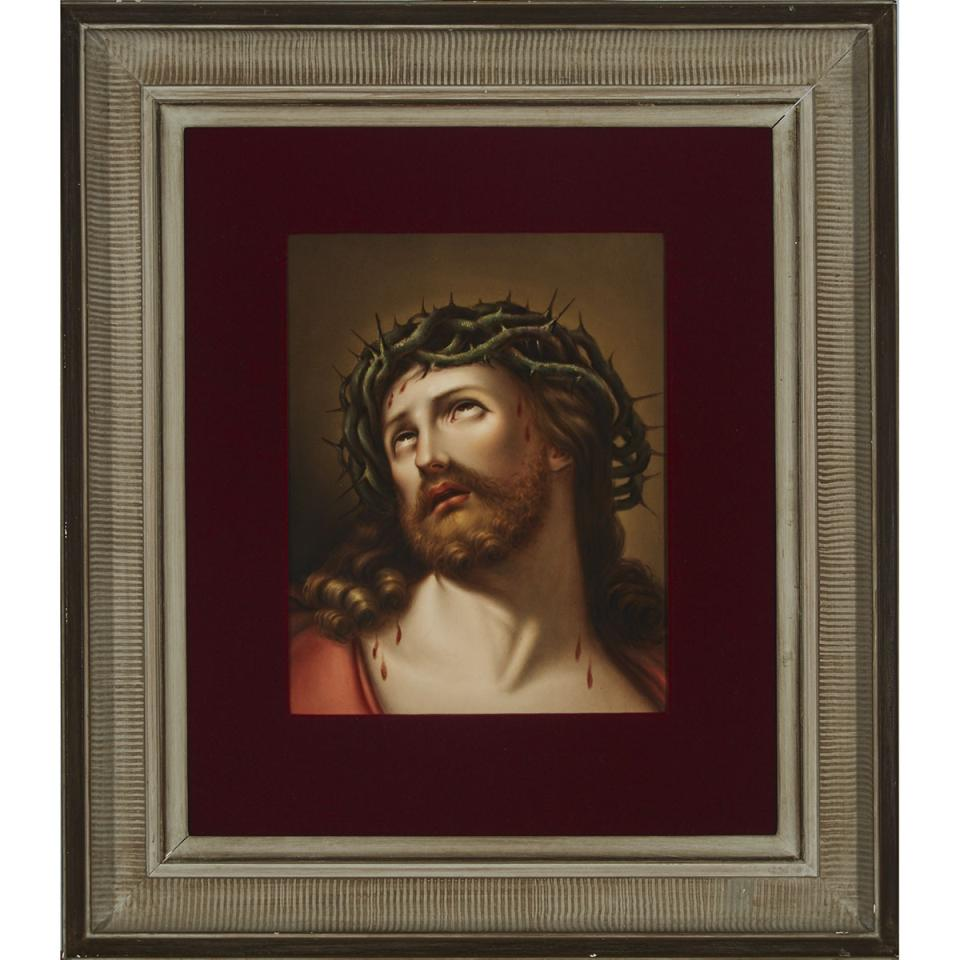 Berlin Rectangular Plaque of Christ with Crown of Thorns, late 19th century