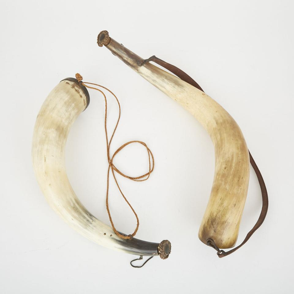 Two Highland Cattle Powder Horns, 19th century