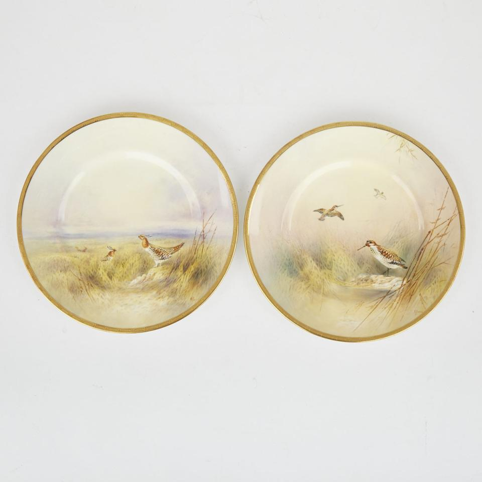 Pair of Royal Doulton Game Plates, 'Snipe' and 'Prairie Hen', Arthur Perry, 20th century