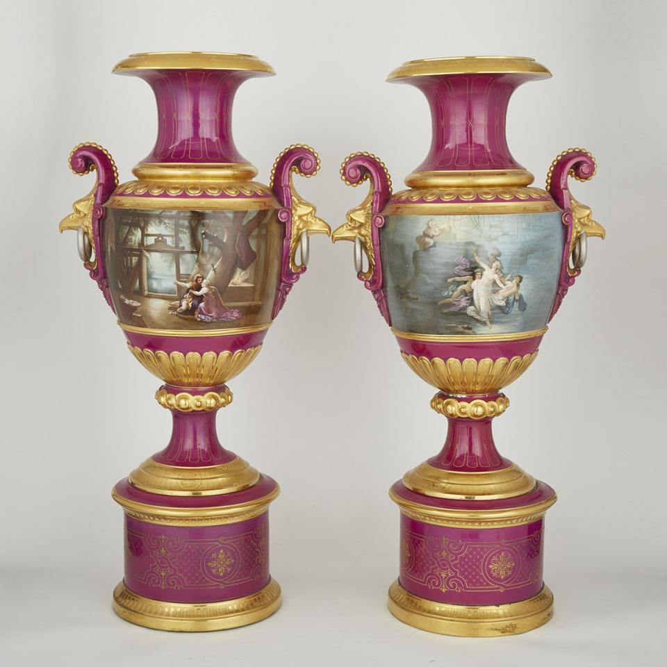 Pair of Continental Porcelain Burgundy Ground Large Two-Handled Vases, 20th century