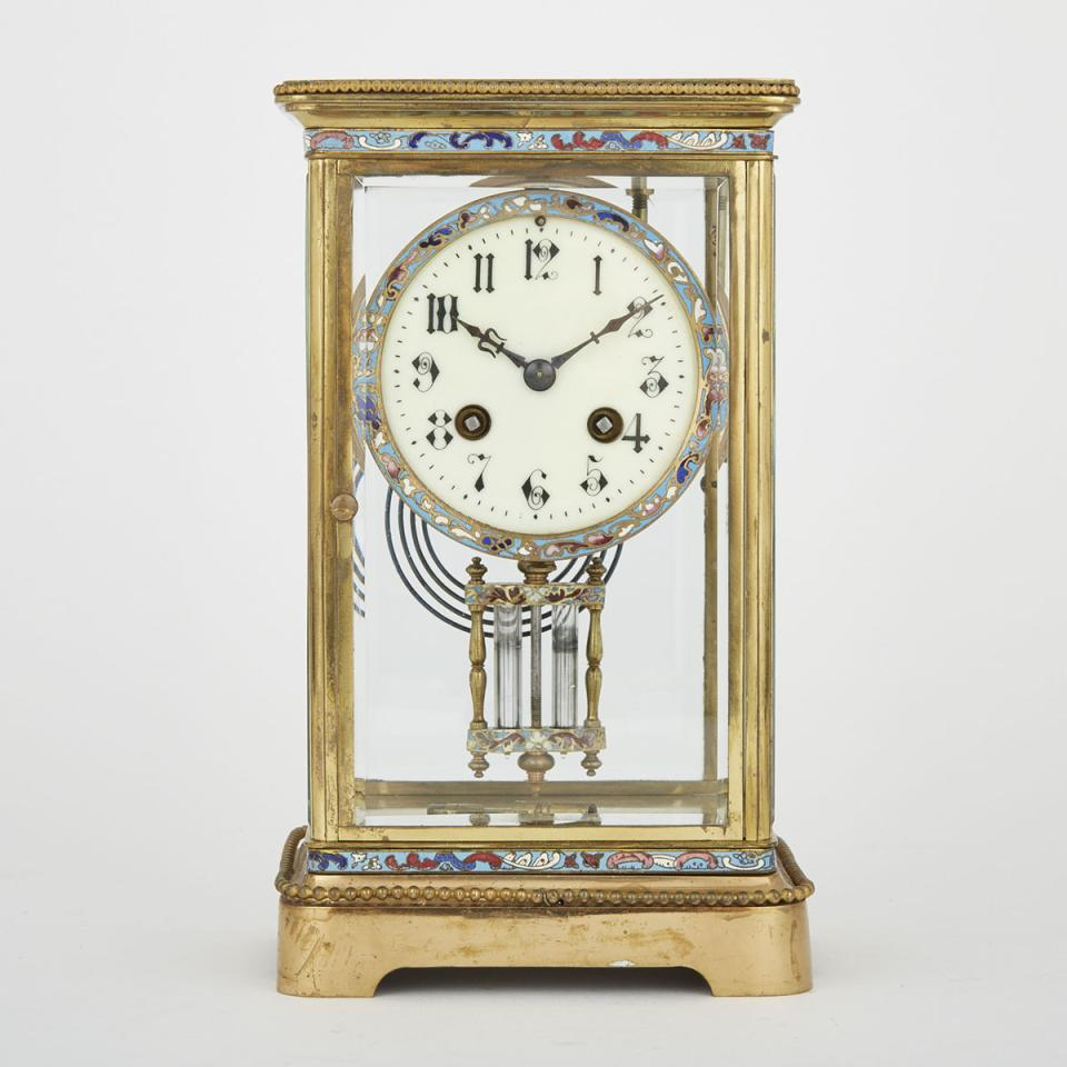 French Champlevé Enamelled Gilt Brass Four Glass Panel Regulator Clock, early 20th century