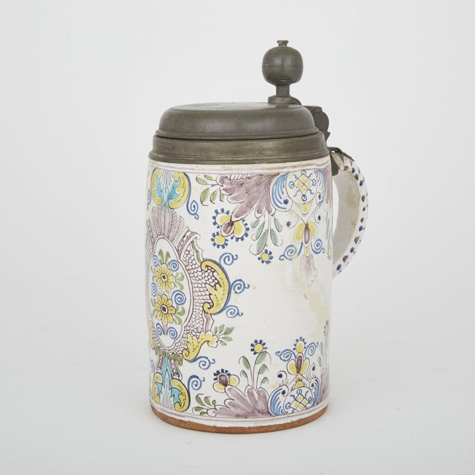 German Pewter Mounted Faience Stein, early 19th century