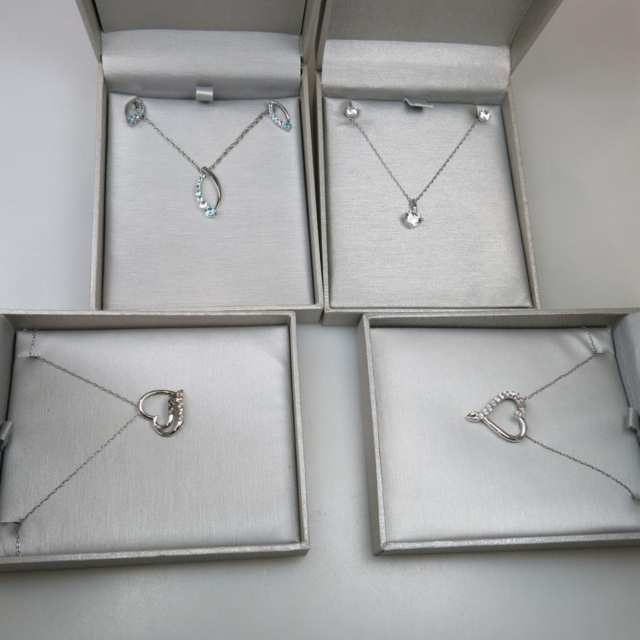 Four Sterling Silver Pendants And Chains & 2 Pairs Of Earrings