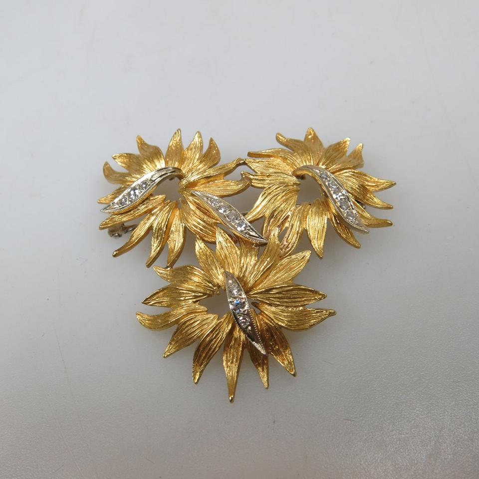 Birks 18k Yellow and White Gold Floral Brooch