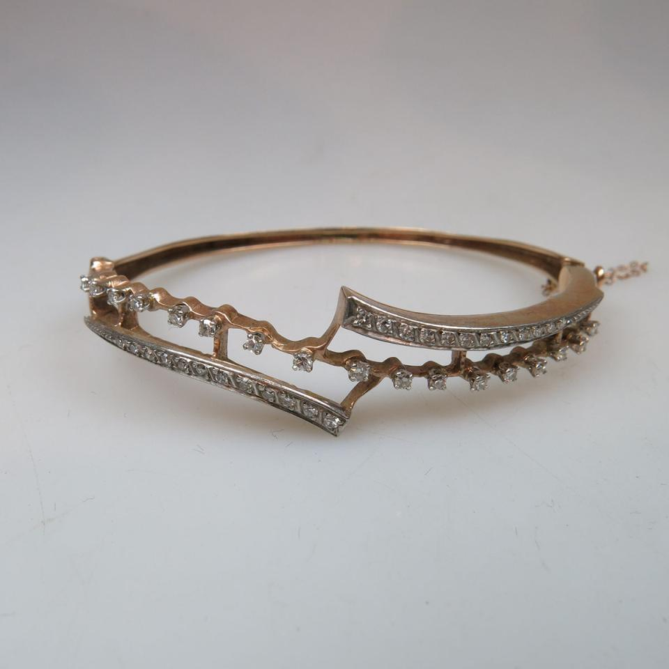 14k Yellow Gold And Platinum Hinged Bangle