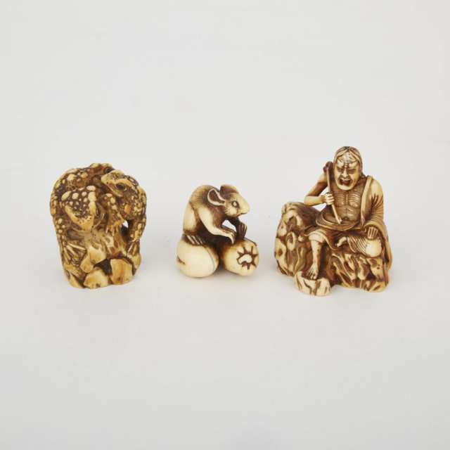 Two Carved Ivory Netsuke and a Carved Ivory Toad Group, Meiji Period