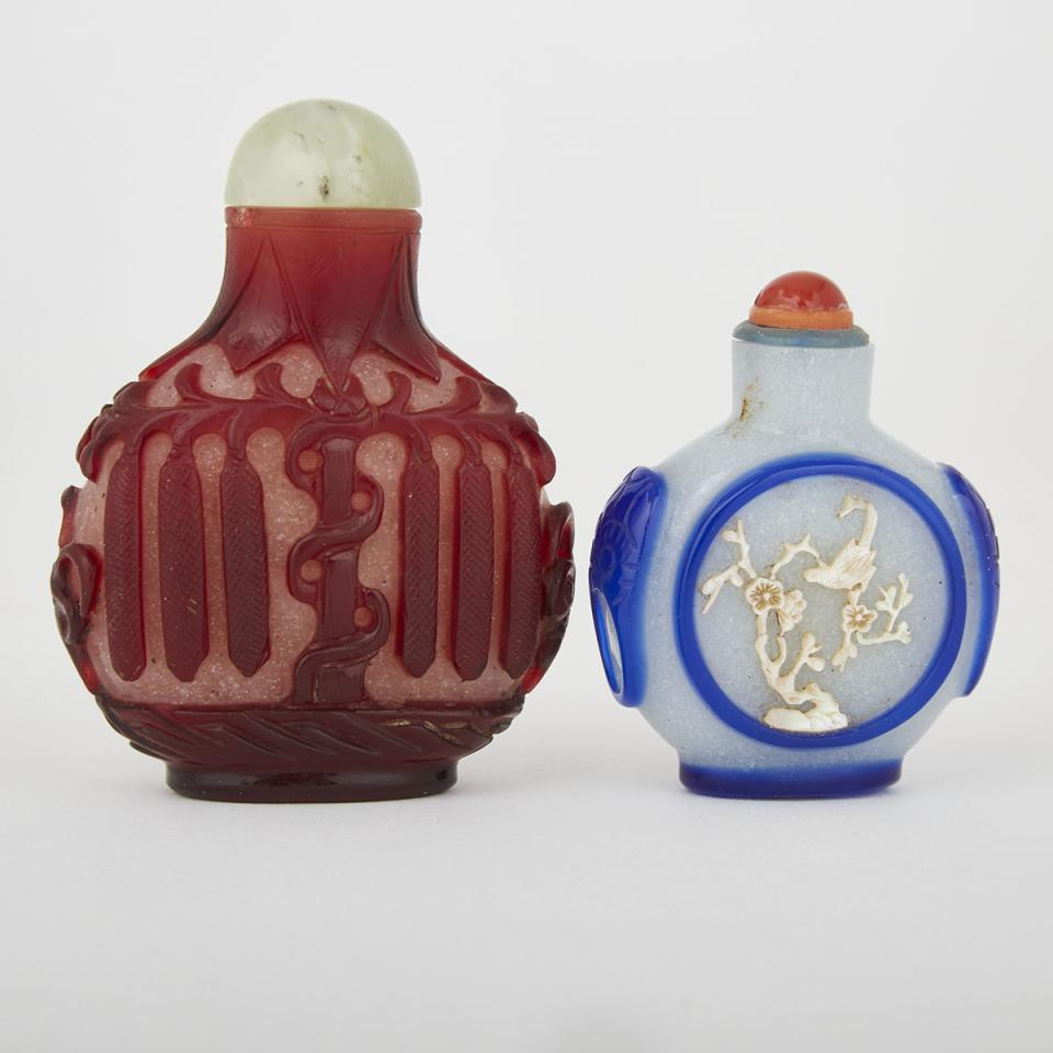 Two Overlay Peking Glass Snuff Bottles