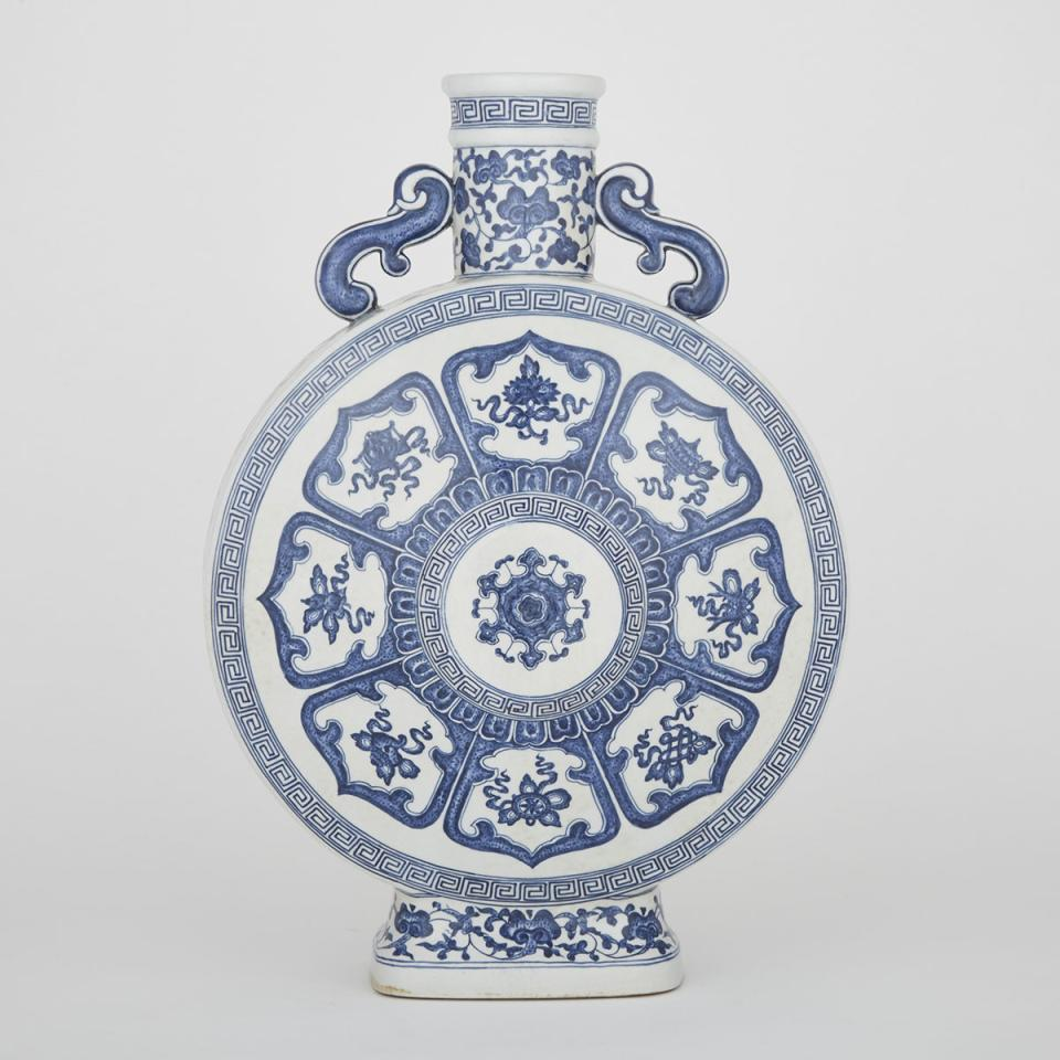 A Blue and White Moon Flask Vase, Qianlong Mark