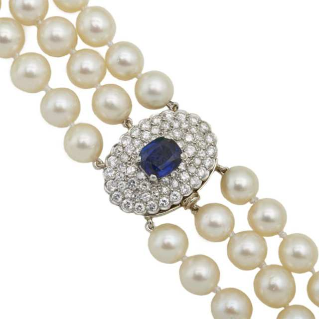 Triple Stand Cultured Pearl Necklace