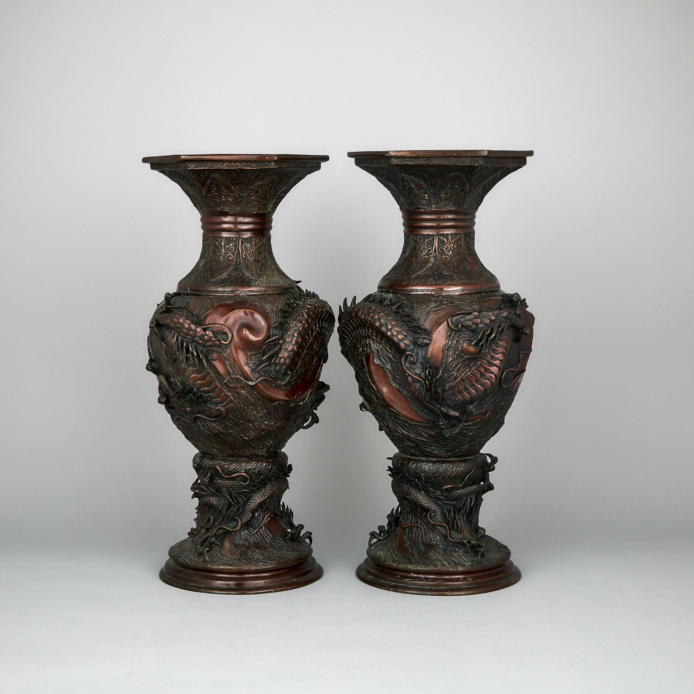 A Pair of Chinese Bronze Floor Vases, Circa 1900