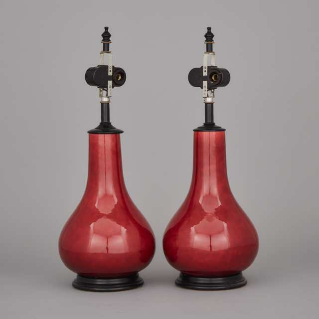 A Pair of Red Glazed Vase Lamps