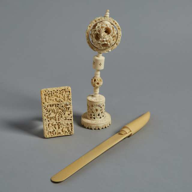A Group of Three Ivory Carved Items