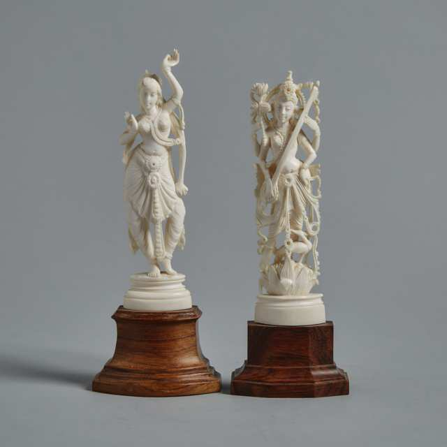 Two Indian Ivory Carved Figures