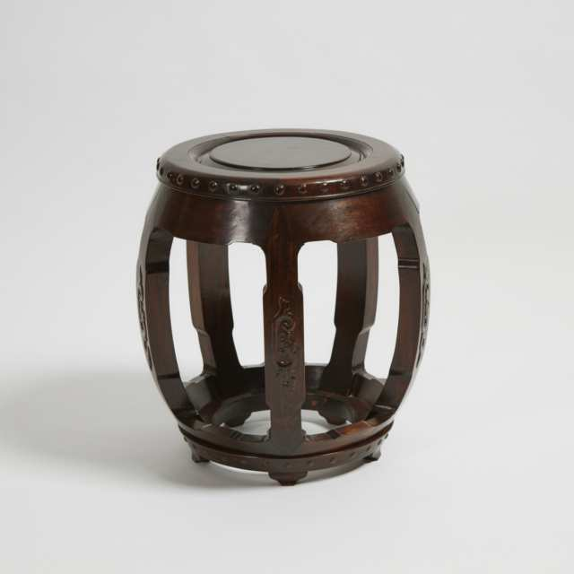 A Chinese Rosewood Barrel Stool