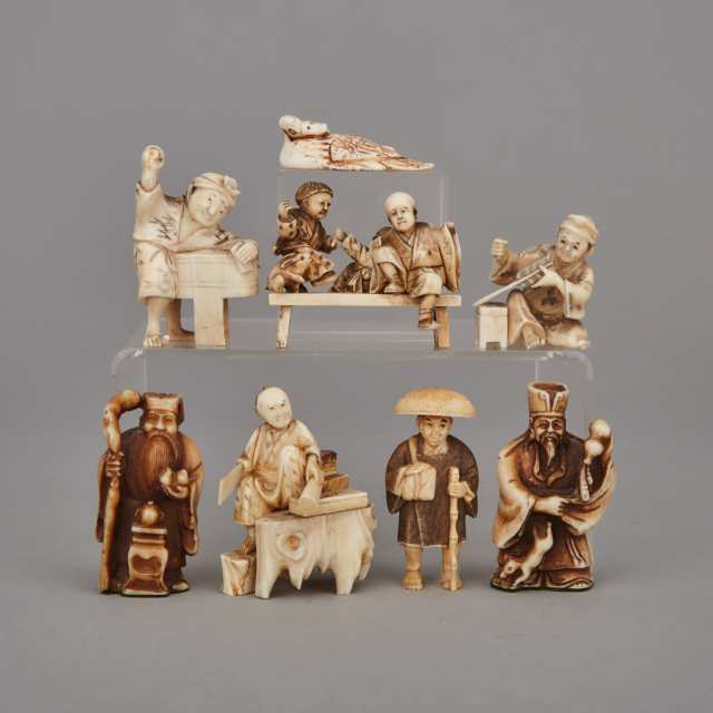 A Group of Eight Ivory Carved Netsuke, Meiji Period