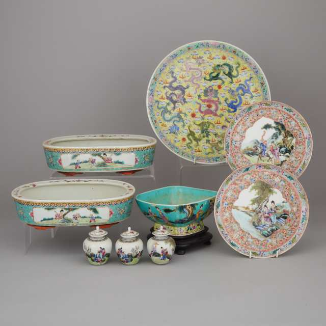 A Group of Nine Famille Rose Wares, 20th Century