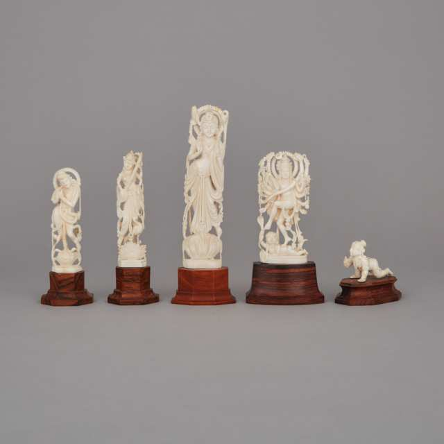 A Group of Five Indian Ivory Carvings
