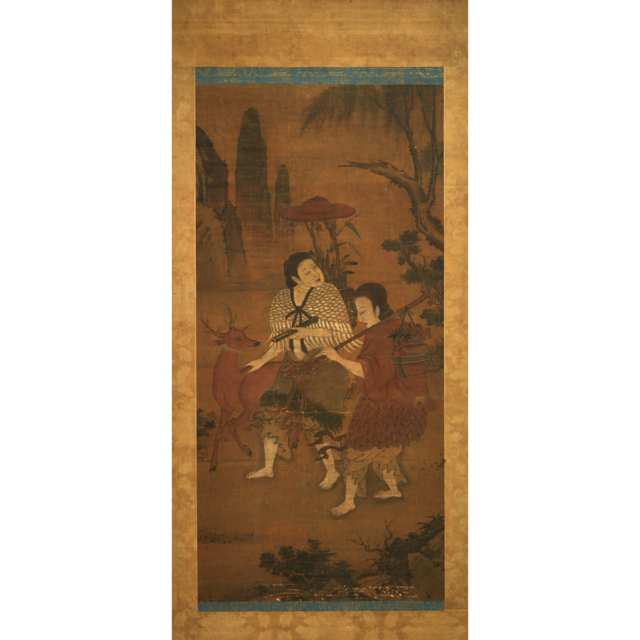 Japanese School, Two Figures and Deer, 19th Century