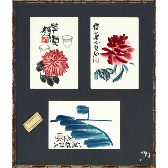 After Qi Baishi (1864-1957), A Group of Six Woodblock Prints