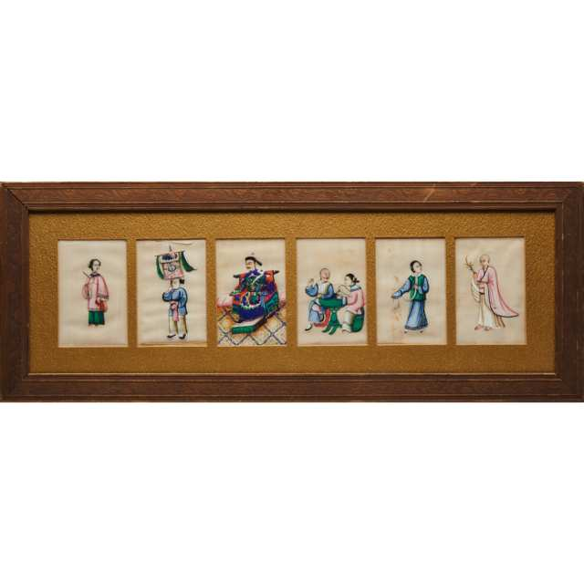 A Framed Set of Six Pith Paintings, Early 20th Century