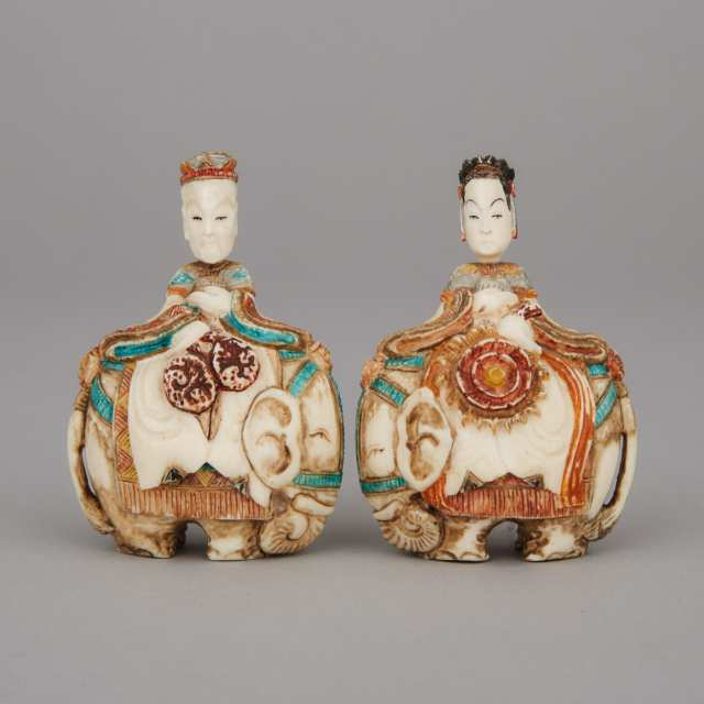 A Pair of Ivory Snuff Bottle Figures, 19th Century