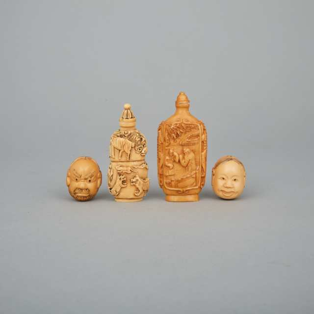 Two Ivory Snuff Bottles, Circa 1940