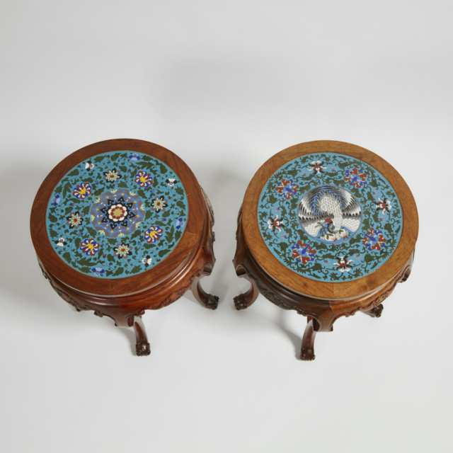 A Pair of Chinese Cloisonné Top Hardwood Stools